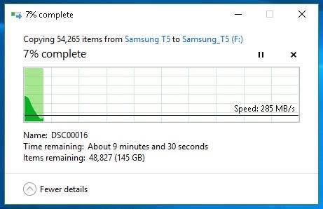 Transfer Samsung T5 - inceput
